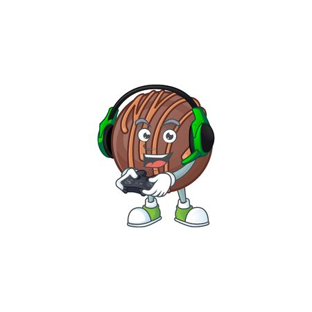 Cool chocolate praline ball cartoon mascot with headphone and controller 矢量图像