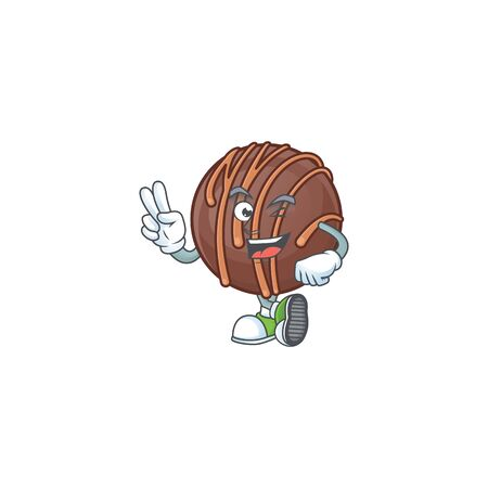 cartoon mascot design of chocolate praline ball with two fingers