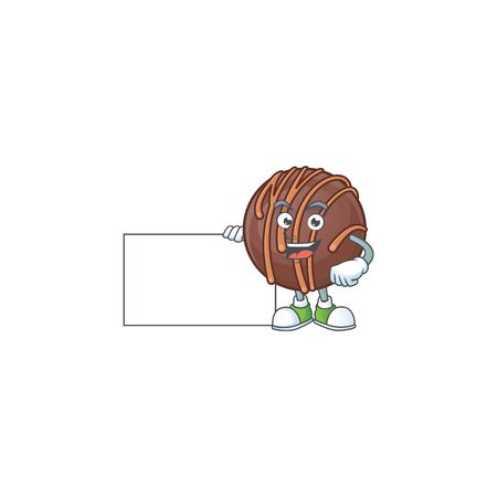 Cheerful chocolate praline ball cartoon character having a board