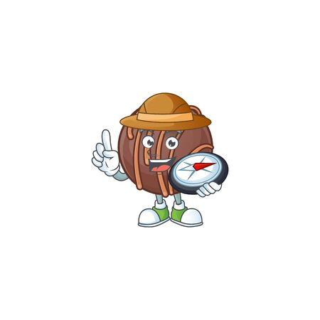 Chocolate praline ball stylized Explorer having a compass