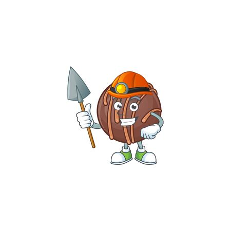 Cool clever Miner chocolate praline ball cartoon character design. Vector illustration 矢量图像