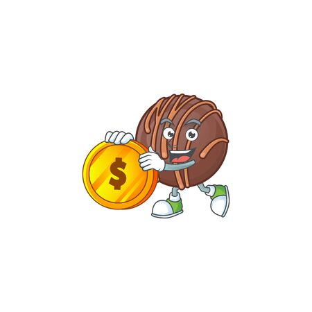 Rich chocolate praline ball mascot cartoon design style with gold coin. Vector illustration