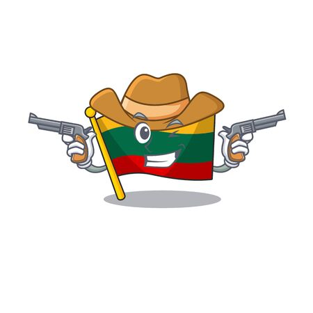 Flag lithuania dressed as a Cowboy having guns. Vector illustration Ilustração