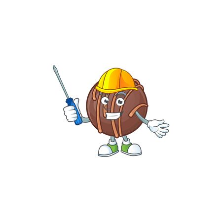 Cool automotive chocolate praline ball in cartoon character style. Vector illustration 矢量图像