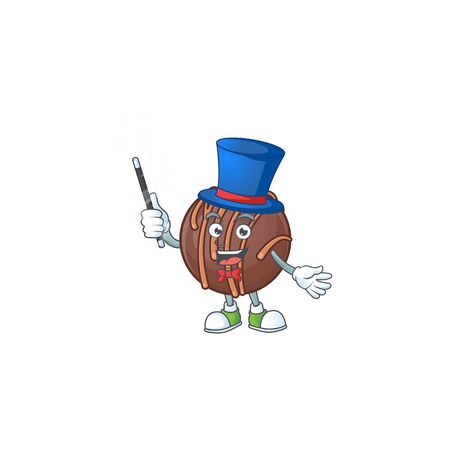 A picture of chocolate praline ball performance as a Magician. Vector illustration