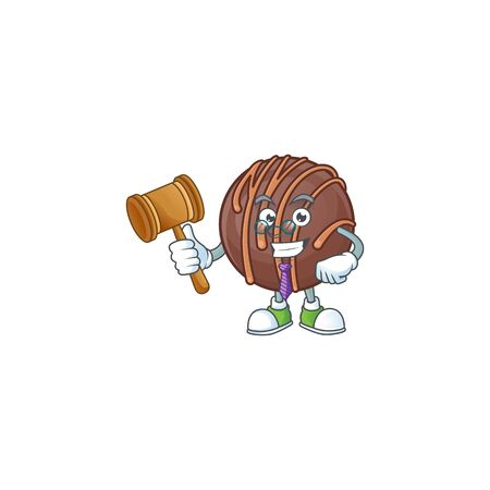 Smart Judge chocolate praline ball in mascot cartoon character style. Vector illustration 矢量图像