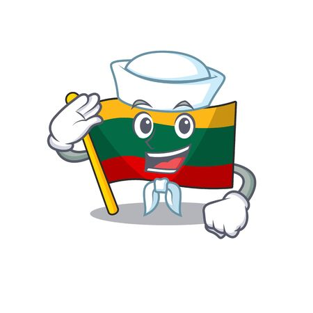 A mascot design of flag lithuania Sailor wearing hat. Vector illustration
