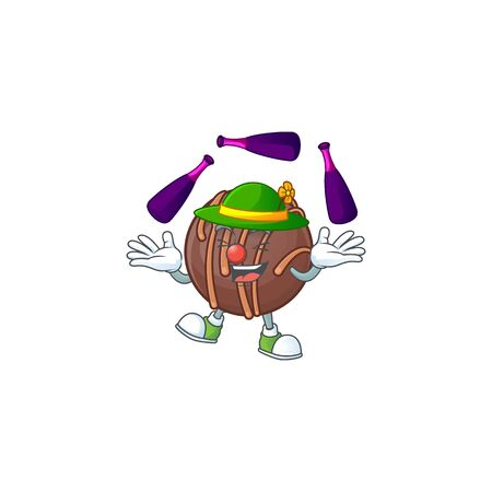 Smart chocolate praline ball cartoon character design playing Juggling