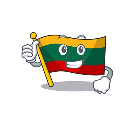 Cheerfully flag lithuania making Thumbs up gesture. Vector illustration