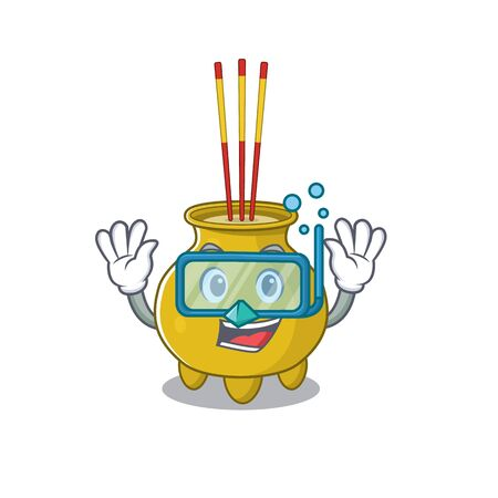 cartoon character of chinese incense wearing Diving glasses