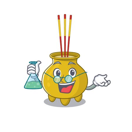 Smart Professor chinese incense cartoon character with glass tube