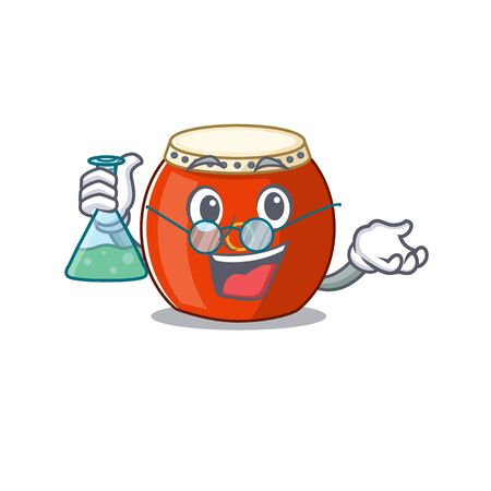 Smart Professor chinese drum cartoon character with glass tube