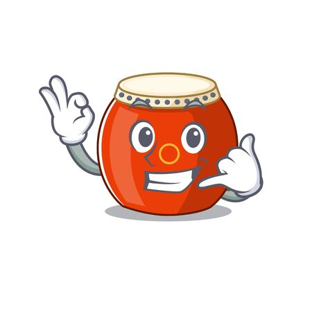 Call me funny chinese drum mascot picture style Foto de archivo - 136904689
