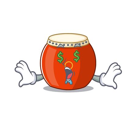 Happy rich chinese drum with Money eye cartoon character style
