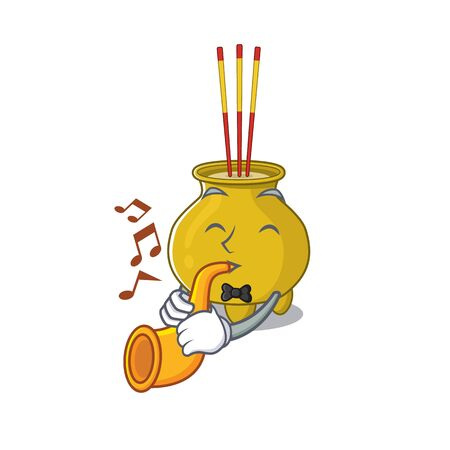 cartoon character style of chinese incense performance with trumpet