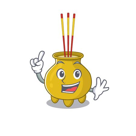 One Finger chinese incense in mascot cartoon character style