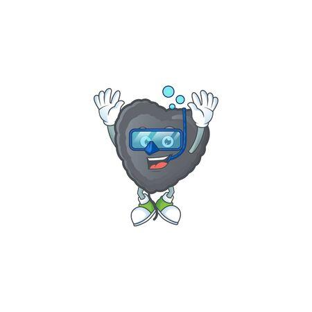 cartoon character of black love balloon wearing Diving glasses. Vector illustration Illustration