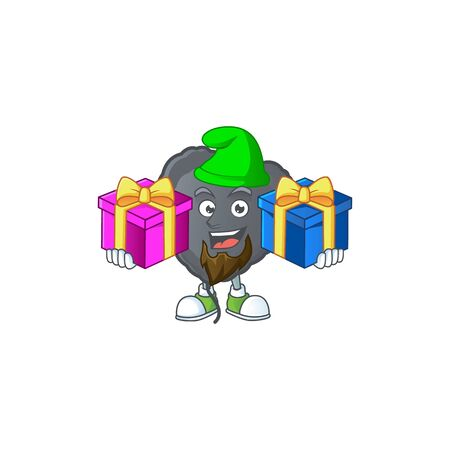 Cute black love balloon cartoon mascot style with Tongue out. Vector illustration