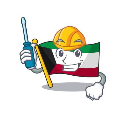 Cool automotive flag kuwait in cartoon character style