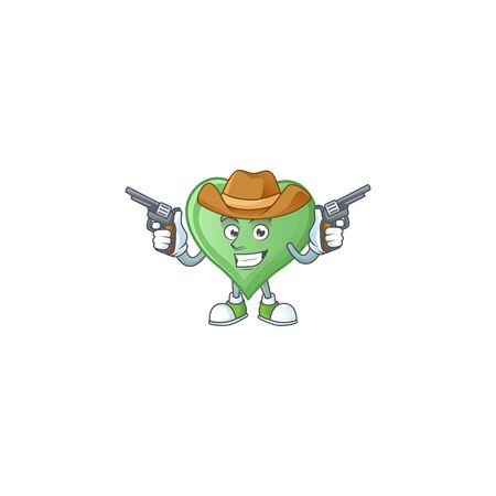 Confident green love Cowboy cartoon character holding guns. Vector illustration