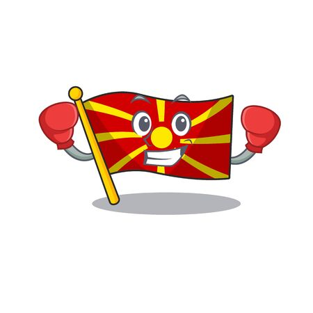 Sporty Boxing flag macedonia mascot character style