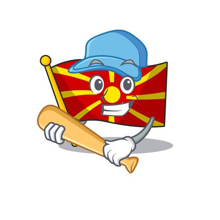 Sporty flag macedonia cartoon character design with baseball Illustration