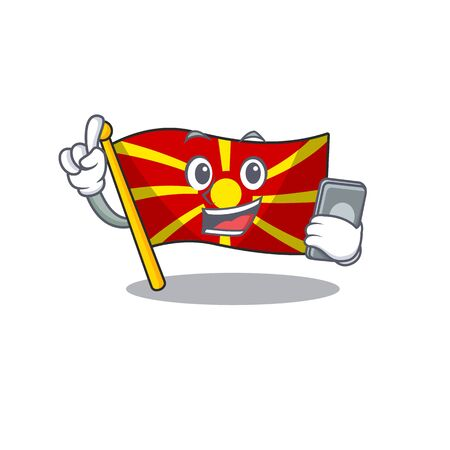 Cartoon design of flag macedonia speaking on a phone. Vector illustration