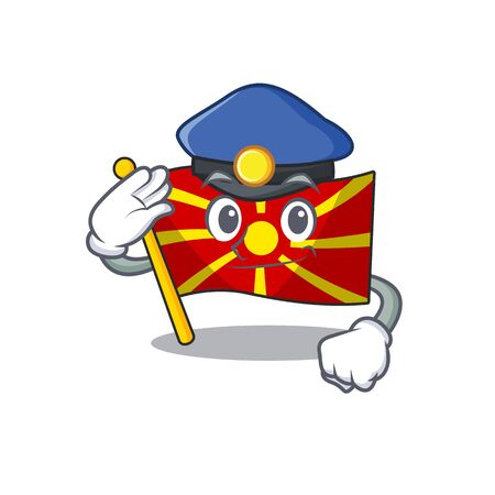 Flag macedonia Cartoon mascot performed as a Police officer