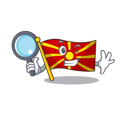 Cool and Smart flag macedonia Detective cartoon mascot style  イラスト・ベクター素材