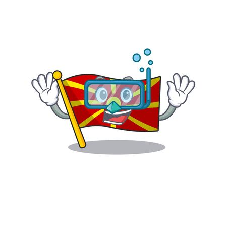cartoon character of flag macedonia wearing Diving glasses Illustration