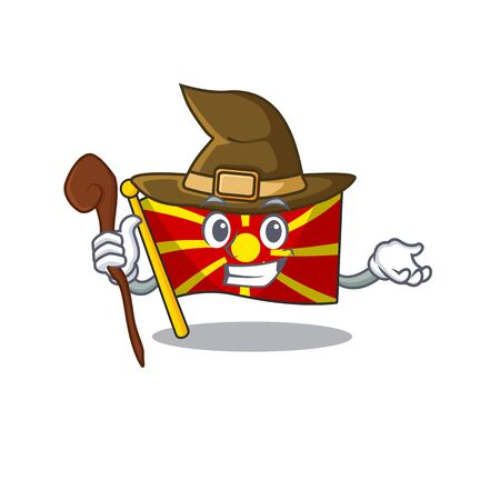 cartoon mascot style of flag macedonia dressed as a witch. Vector illustration Illustration