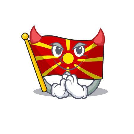Devil flag macedonia Cartoon in character design. Vector illustration