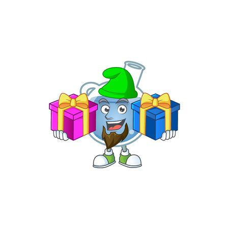 Cute blue potion cartoon mascot style with Tongue out. Vector illustration