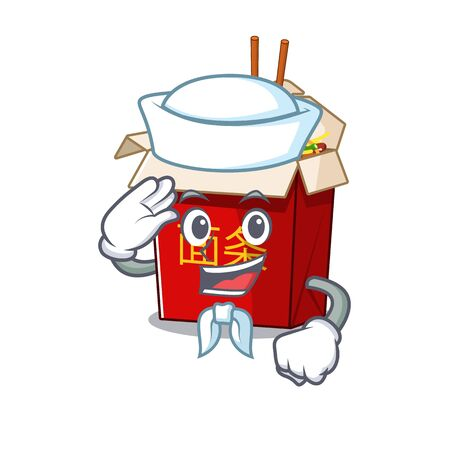 A mascot design of chinese box noodle Sailor wearing hat. Vector illustration