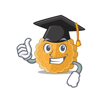 happy and proud of chinese mooncake wearing a black Graduation hat. Vector illustration
