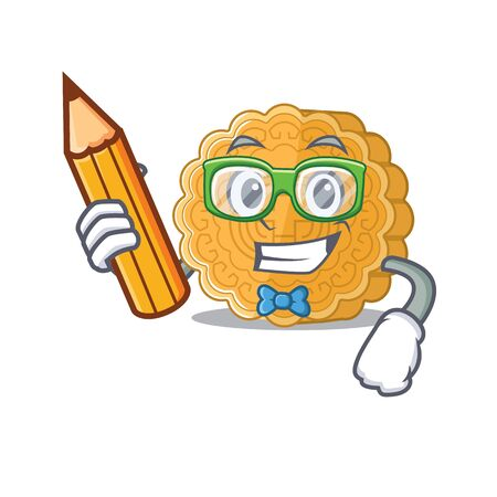 A picture of Student chinese mooncake character holding pencil. Vector illustration Ilustração