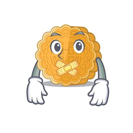 a silent gesture of chinese mooncake mascot cartoon character design. Vector illustration Иллюстрация