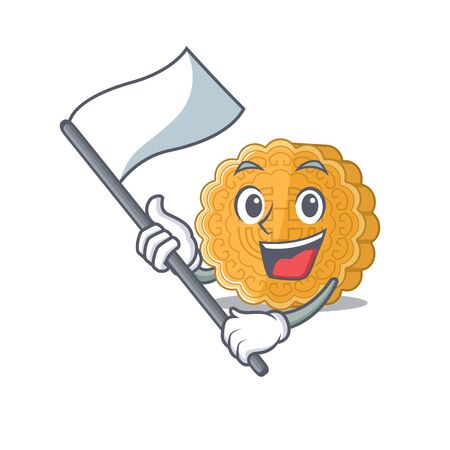 Funny chinese mooncake cartoon character style holding a standing flag. Vector illustration