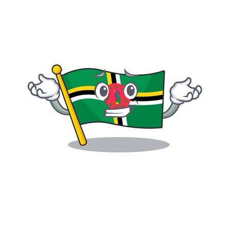 Super Funny Grinning flag dominica mascot cartoon style. Vector illustration Ilustracja