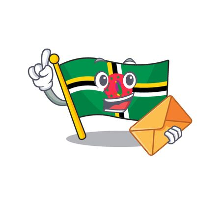 Cheerfully flag dominica mascot design with envelope. Vector illustration