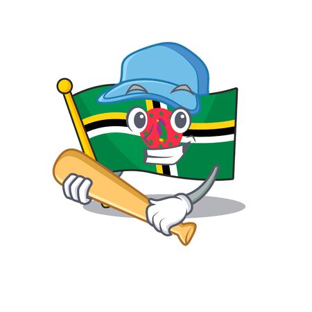 Sporty flag dominica cartoon character design with baseball. Vector illustration