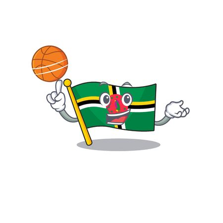 A mascot picture of flag dominica cartoon character playing basketball. Vector illustration