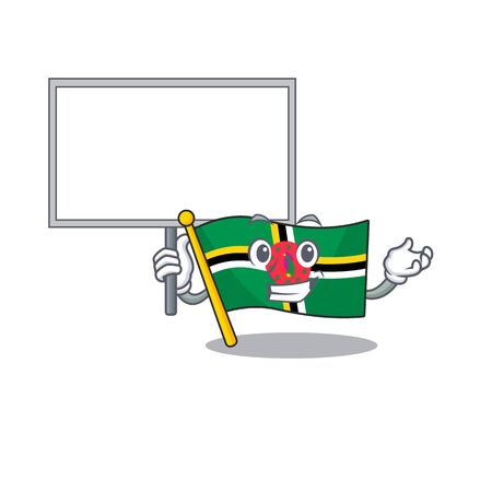 A cute picture of flag dominica cute cartoon character bring a board. Vector illustration