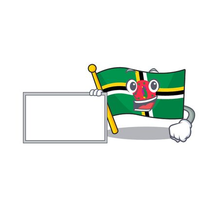 Funny flag dominica cartoon character design style with board. Vector illustration