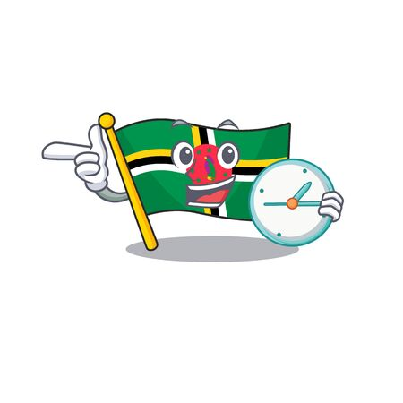 cartoon character style flag dominica having clock. Vector illustration