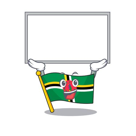A mascot picture of flag dominica raised up board. Vector illustration