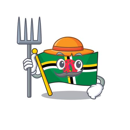 Cheerfully Farmer flag dominica cartoon picture with hat and tools. Vector illustration