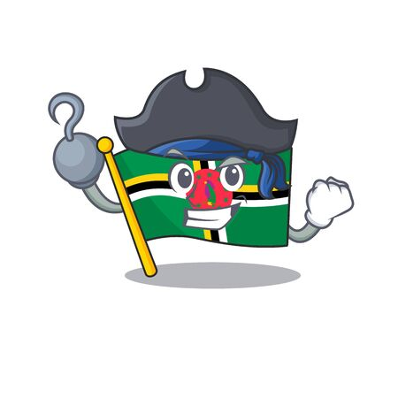 cool and funny flag dominica cartoon style wearing hat. Vector illustration