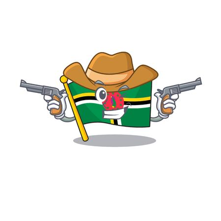Flag dominica dressed as a Cowboy having guns. Vector illustration Ilustracja