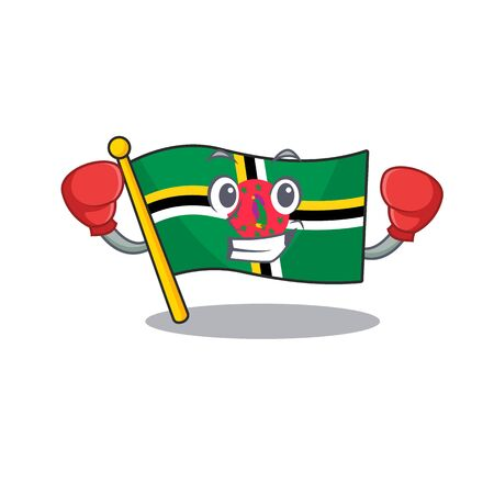 Sporty Boxing flag dominica mascot character style. Vector illustration Ilustracja